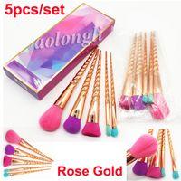 Nuovi pennelli trucco set cosmetici pennello 5 pezzi kit oro rosa brillante con gambo a spirale strumenti per il trucco pennello a vite contorno scatola al minuto