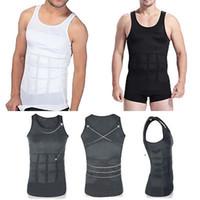 Shapers do corpo dos homens Shaper Shaper Barriga Barriga Gordo Underwear Colete Camiseta Espartilho Shapewear sem mangas O-pescoço Blusas