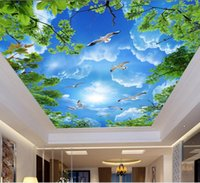 Özel Fotoğraf 3D Tavan Duvar Resimleri Duvar Kağıdı Beyaz Bulutlar 3D Tavan Duvar Resimleri 3D Için Duvar Kağıdı