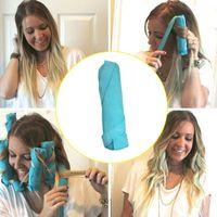 8 adet Saç Silindirler Uyku Styler Takımı Uzun Pamuklu Kıvırcıklaştırıcılar DIY Styling Araçları Mavi Renk Sihirli Saç Soyunma ...