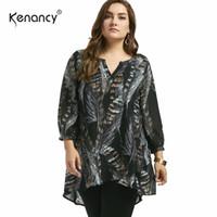 Kenancy Fall 2017 Fashion New 5XL Plus Size High Low Asymmetrical Feather Print Shirt V Neck Long Sleeve Women Blouse Black Slim