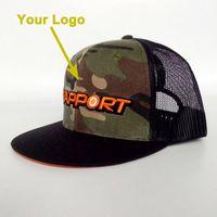 حافة شقة الرجال ضبط تخصيص تخصيص أسلوب سائق الشاحنة قبعة المفاجئة عودة إغلاق مخصص قبعة بيسبول نمط مخصص مع شبكة على الظهر