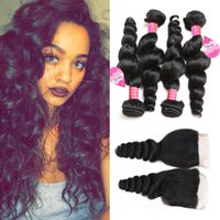 Brazilian Loose Wave Hair Weaves 4 Bundles with Closure Free...
