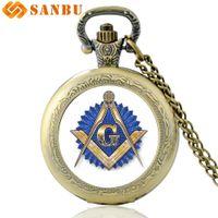Classic Masonic Art Glass Cabochon Quartz Pocket Watch Vintage Brons Halsband Män Kvinnor Pendant Gifts Watch