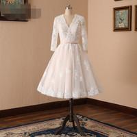 1950'ler Vintage Robe De Mariee Tül Dantel Şampanya Kısa Gelinlik 3/4 Kollu Çay Boyu Ile Artı Boyutu V Boyun Gelin Kıyafeti Custom Made