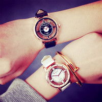 Unisex Quartz watch Analog Pierced Hollow PU leather usa fas...
