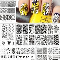 Född Nätt Nail Stamping Plates Lace Flower Animal Pattern Nail Art Stämpel Stämpling Mall Bildplatta Stencil Nails Tool