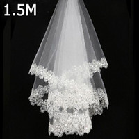Cheap Beads Lace Applique Wedding Veils 2018 New White Ivory...