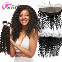 xblhair deep wave human hair closure lace frontal with bundl...