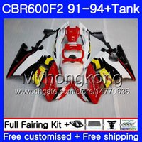 Cuerpo para HONDA CBR 600 F2 FS CBR600 F2 1991 1992 1993 1994 1MY.52 CBR600FS CBR 600F2 CBR600RR rojo amarillo CBR600F2 91 92 93 94 Kit de carenado