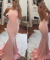 2019 Mermaid Prom Dresses Jewel Sleeveless Backless Sweep Tr...