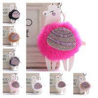 Red Fur Pom Pom Alpaca Keyring 8 Estilos Lentejuelas Faux Rabbit Fur Fluffy Llavero Car Bag Keychain Charms Colgante para mujer