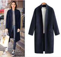 autumn winter woman new wool overcoat Army green Navy Blue l...
