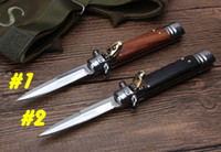 """Hot! Couteau de poche Bill DeShivs 7.6"""" Parrain italien Stiletto lame en acier 440C survie automatique engrenage extérieur couteaux couteau de camping"""