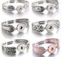 2018 Relojes bohemios Joyería de las mujeres Joyería Snap Pulseras Más nueva de la vendimia 18mm Metal Snap Button Bracelet 040906