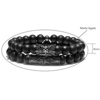 2PC Metal Piercing Flower Rivet Beads Bracciali Set Uomo Donna Gioielli Elastic Matter Beads Wristband Bracciale Accessori