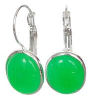 noble lady's handmade 925 Silver green jade Natural Stone Leverback Earrings Lady's Natural Stone Ball Earring DANGLE EARRINGS
