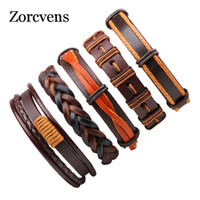 ZORCVENS Handmade Braided Woven Men Multilayer Charm Leather...