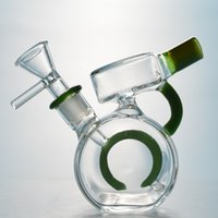 DHL Free Glass Bong Circle Perc Percolator Bong Mini Dab Rig...