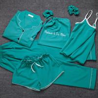 المرأة 7 أجزاء جميل بيجامة مجموعة منامة مجموعات الحرير الحرير ملابس داخلية homewear النوم الفراولة الوردي منامة مجموعة البيجامات امرأة