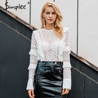 Simplee Ruffle lace blouse shirt women Hollow out floral whi...