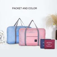 أزياء المرأة حقيبة سفر الأمتعة قدرة كبيرة قابلة للطي حمل على حقيبة واق من المطر طوي نايلون زيبر للماء حقيبة السفر المحمولة