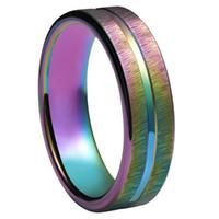 Mens Trauringe 4mm Wolframcarbid Trauringe Regenbogen eloxiert Groove Center mit Regenbogen Überzug Herrenschmuck