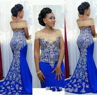 Высокое качество Русалка Вечерние платья с плеча с золотой вышивкой развертки Поезд Африканские женщины Синие вечерние платья выпускного вечера
