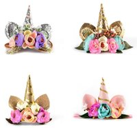 New Baby Birthday Gift unicorn Headband Childrens floral pri...
