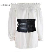 Kimring Casual Uzun Kollu Bluz Gömlek Kadınlar Tops Fırfır Beyaz Bluz Yaz Plaj Kapalı Omuz Elastik Serin Bluz