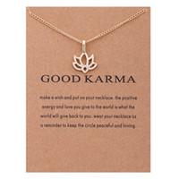Moda NO Dogeared LOGOTIPO Nueva Joyería de Moda de Oro-color Buen Karma Happy Lotus Gargantilla Collar Joyería Regalo Whosales