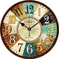 12 pouces Rétro En Bois Horloge Murale Européenne Décor Ménage Horloge Silencieux Horloges Murales À Quartz Batterie Antique Vintage salon horloge