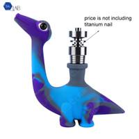 Livraison gratuite par SILICLAB Branded breveté Dinosaur silicone pipe W / verre fumeurs bol et joint silicone Downstem silicone Bong