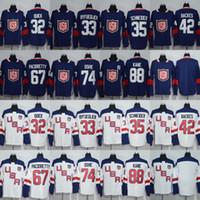 32 Jonathan Quick 33 Dustin Byfuglien 35 Cory Schneider 42 David Backes Jersey 2016 Copa del Mundo de Hockey Team USA Hockey Jersey Barato