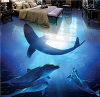 Vinyl Bodenbelag Badezimmer Aesthetic Underwater World Dolphin Shark 3D Stereo Badezimmer Wohnzimmer Boden