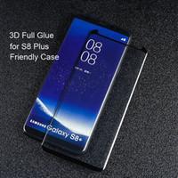 Top 3D Full Glue Adhensive Estuche protector de pantalla para teléfono de vidrio templado amigable para Samsung Galaxy S8 S9 Plus Note 8 sin DHL