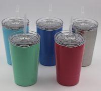 5 цветов 12oz детские чашки молока 12oz мини тумблер вакуумной изоляцией пивные кружки из нержавеющей стали бокалы кофейные кружки с прозрачными крышками соломинки