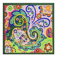 60cm x 60cm Bohème plaine soie foulard femmes foulards carrés cajou Floral Design petit Hijab Lady bandana femme Foulard Fashion Handband