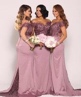 Ameixa fora do ombro Plus Size vestidos de dama de honra 2018 Vintage Lace Top com trem frisado baratos maid of honor vestidos longo formal BA6521