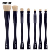 MAANGE Pro Flat Round Top 7Pcs Makeup Brushes Set Blush Eye ...