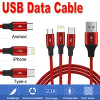 3 in 1 USB Cable Braided Fabric 2. 1A Fast Type C Micro USB D...