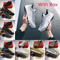 With Box 2018 97 Running Shoes 97s OG Gold Silver Bullet Tri...