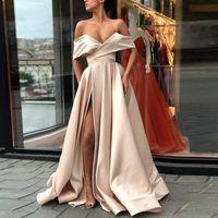 Сексуальные дешевые Split Champagne Prom платья выпускного вечера 2018 с плеча атлас Длина пола белый розовый краснеть простые вечерние платья