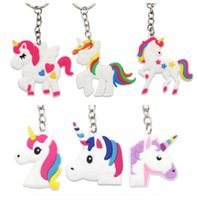 60pcs Cute 4 Designs Random Unicorn Keychain Animal PVC Keyc...