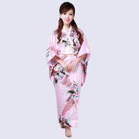 High Quality Pink Japanese Women s Silk Rayon Kimono Traditional Yukata With  Obi Evening Dress one size Mujeres Quimono H0040-B 0fb8a19edcfb
