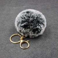 Big faux leather 8CM Fur PomPom KeyChain Rabbit Hair Bulb Ba...