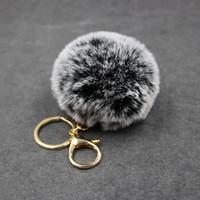 Big couro falso 8cm Fur PomPom KeyChain Cabelo Bag Bulb pom pom Bola chave clef poret cadeia pingente de mulheres encantador Fluffy