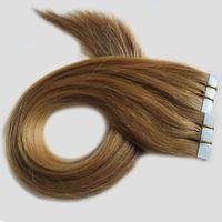 Grau 8a extensões de cabelo de fita de trama da pele do cabelo brasileiro não transformados cabelo brasileiro virgem 100g (40 pcs)