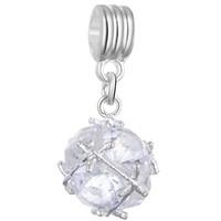 Хрустальный мяч болтается кулон шарм шарик мода женские ювелирные изделия потрясающий дизайн горный хрусталь европейский браслет