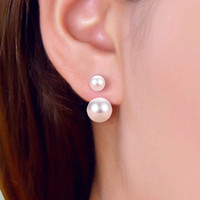Luxury Stud Earrings Double Sided Pearl Earrings Women Korea...